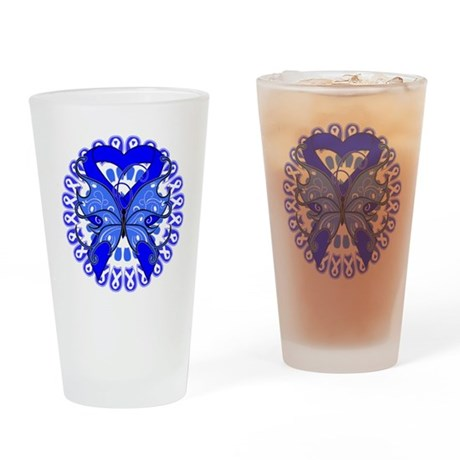 Colon Cancer Butterfly Pint Glass
