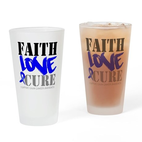 Faith Love Cure Colon Cancer Pint Glass