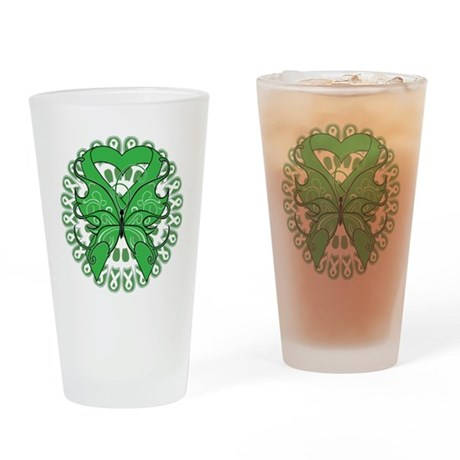 Liver Cancer Butterfly Pint Glass