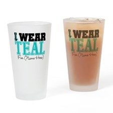 Custom Teal Ovarian Cancer Pint Glass