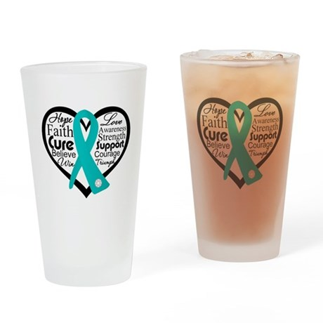Heart Ovarian Cancer Pint Glass