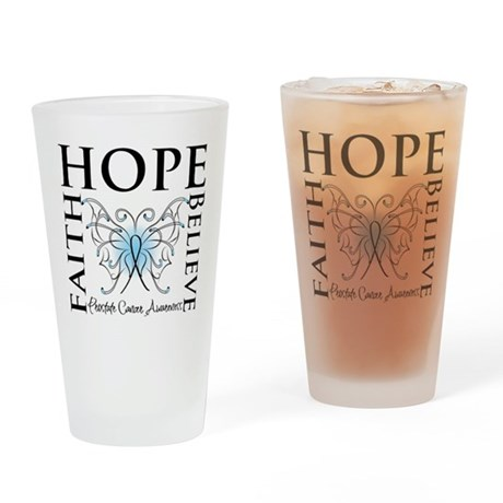 Hope Faith Prostate Cancer Pint Glass