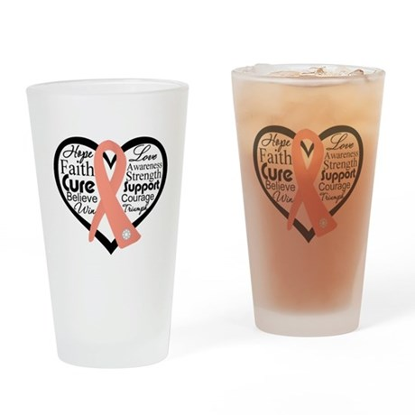 Uterine Cancer Heart Pint Glass