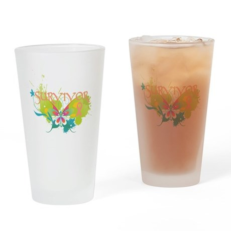 Butterfly Uterine Cancer Pint Glass