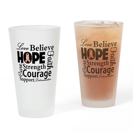 Uterine Cancer Hope Collage Pint Glass