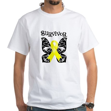 Butterfly Sarcoma Survivor White T-Shirt