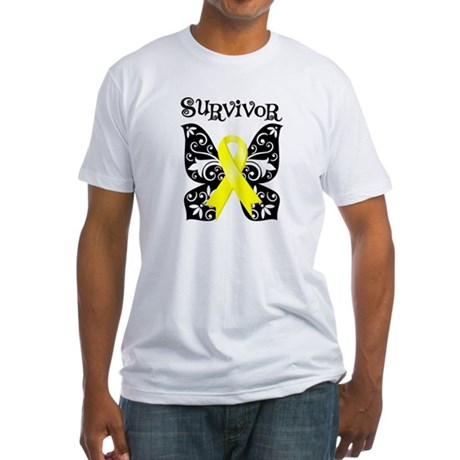 Butterfly Sarcoma Survivor Fitted T-Shirt
