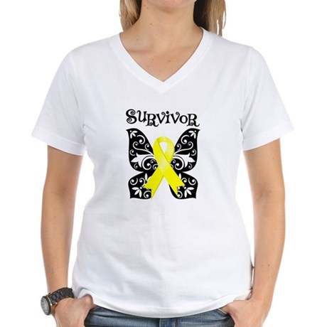 Butterfly Sarcoma Survivor Women's V-Neck T-Shirt
