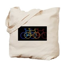 Three Bicycles on Black Tote Bag