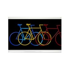 Three Bicycles on Black Rectangle Magnet (100 pack