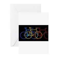 Three Bicycles on Black Greeting Cards (Package of
