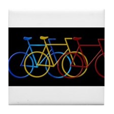 Three Bicycles on Black Tile Coaster
