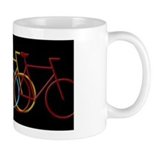 Three Bicycles on Black Mug