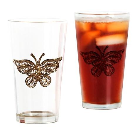 Gold Butterfly Pint Glass