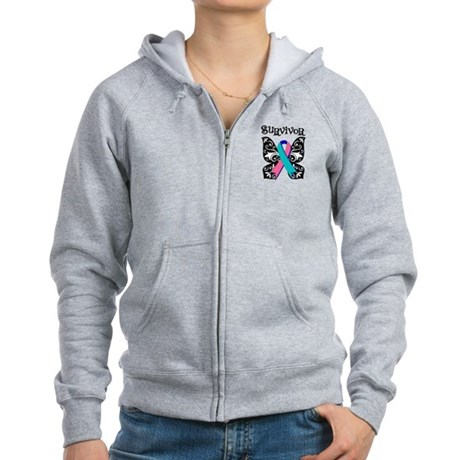 Butterfly Thyroid Cancer Women's Zip Hoodie