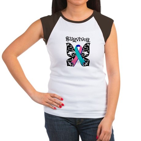 Butterfly Thyroid Cancer Women's Cap Sleeve T-Shir