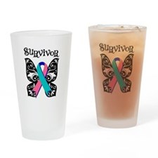 Butterfly Thyroid Cancer Pint Glass