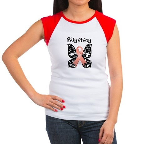 Butterfly Cancer Ribbon Women's Cap Sleeve T-Shirt