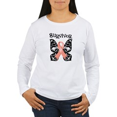 Butterfly Cancer Ribbon Women's Long Sleeve T-Shir