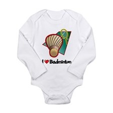 I Love Badminton Long Sleeve Infant Bodysuit