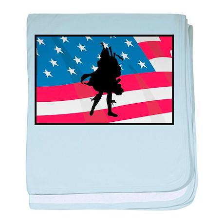 Bagpiper In America baby blanket