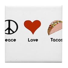 Peace Love Tacos Tile Coaster