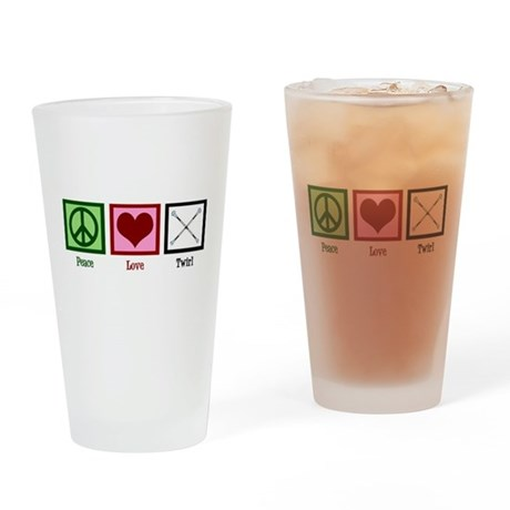 Peace Love Twirl Drinking Glass