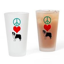 Peace Love Border Collie Pint Glass