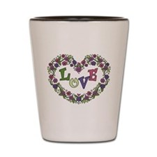 Pink, Purple Love Heart Shot Glass