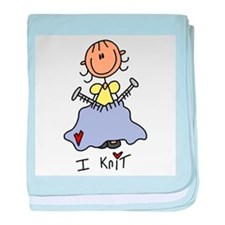 I Knit Stick Figure baby blanket