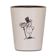 Snowman with Shovel Shot Glass