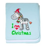 I Love Christmas Zebra baby blanket