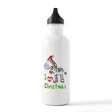 I Love Christmas Zebra Water Bottle