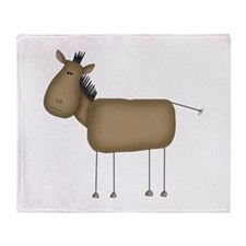 Stick Figure Horse Throw Blanket