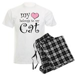 Heart Belongs to Cat Men's Light Pajamas