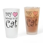 Heart Belongs to Cat Pint Glass