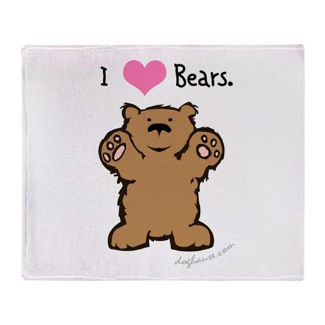 I Love Bears Throw Blanket