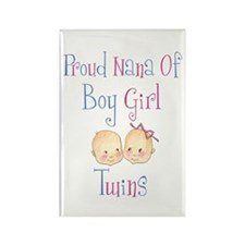 Proud Nana of Boy/Girl Twins Rectangle Magnet