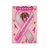 Dachshunds Against Breast Cancer Rectangle Magnet