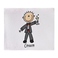 Stick Figure Groom Throw Blanket