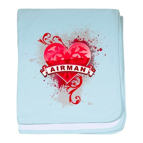 Heart Airman baby blanket