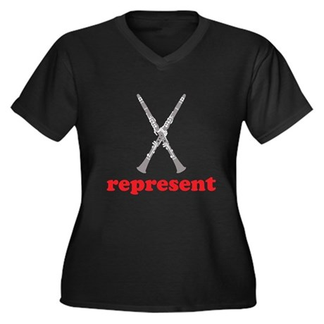 Clarinet Represent Women's Plus Size V-Neck Dark T