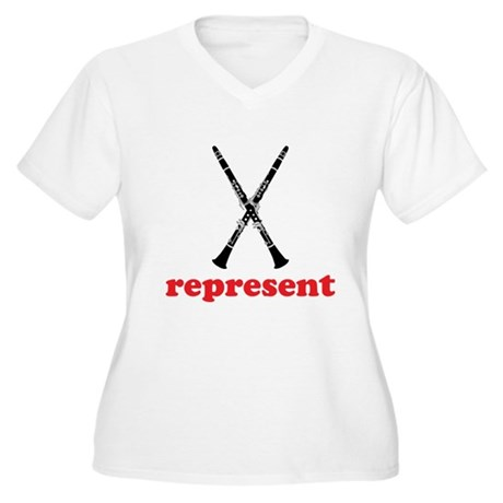 Clarinet Represent Women's Plus Size V-Neck T-Shir