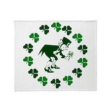 Leprechaun Shamrocks Throw Blanket