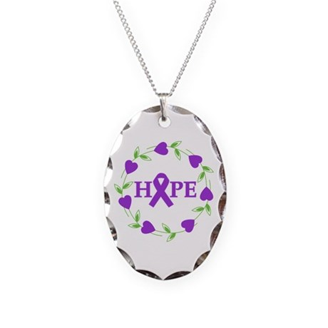 Pancreatic Cancer Hearts Hope Necklace Oval Charm