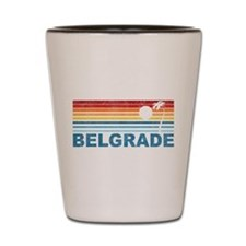 Retro Palm Tree Belgrade Shot Glass