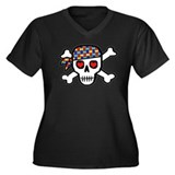Rockin' Autism Skull Women's Plus Size V-Neck Dark