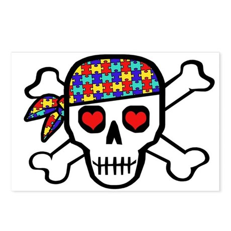 Rockin' Autism Skull Postcards (Package of 8)
