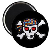Rockin' Autism Skull (Blk) 2.25&amp;quot; Magnet (10 p