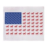 Original Patriotic Horse Flag Throw Blanket